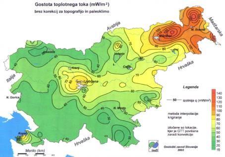 Obnovljivi viri energije - Geoloska karta gostote toplotnega toka