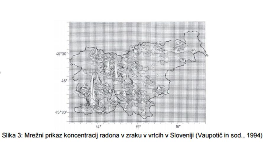 Klimatizacija in prezracevanje vrtcev-mrezni prikaz koncentracij radona