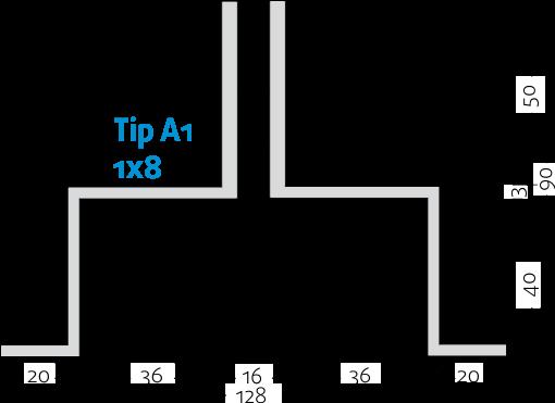 Linijski difuzorji - 1x8 - Tip A1 - 8mm
