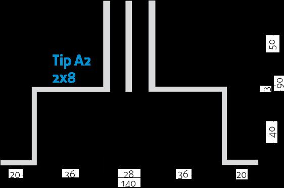 Linijski difuzorji - 2x8 - Tip A2 - 8mm