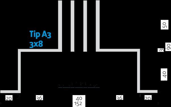 Linijski difuzorji - 3x8 - Tip A3 - 8mm