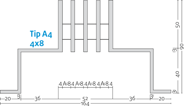 Linijski difuzorji - 4x8 - Tip A4 - 8mm