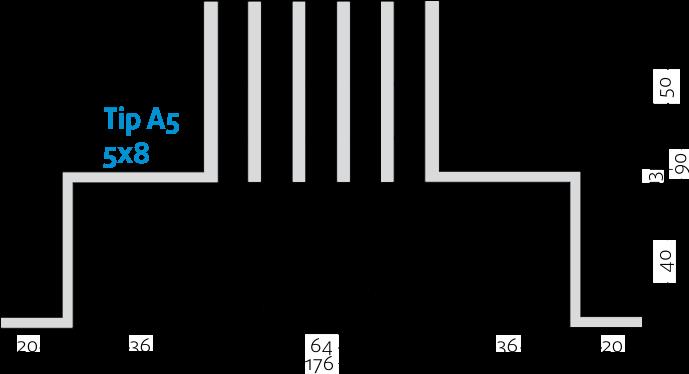 Linijski difuzorji - 5x8 - Tip A5 - 8mm