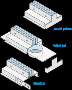 Linijski difuzorji - dodatna oprema - konektor - pokrov - vticni del
